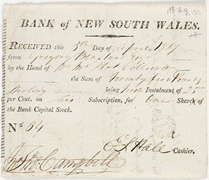 Receipt issued by Bank of New South Wales to Gregory Blaxland, 1817