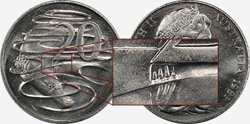 20 cents 1981 - 3½ claws - Scalloped letters