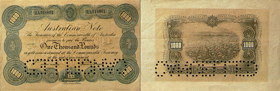 One thousand pounds 1914 and 1915 - Banknote of Australia