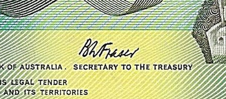 BW Fraser - Australian banknote signature