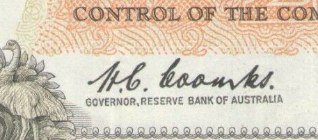 HC Coombs - Australian banknote signature