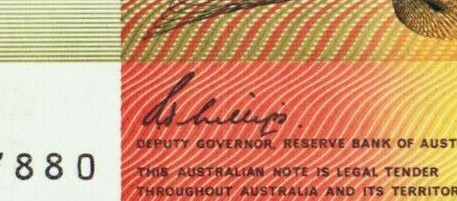 MJ Phillips - Australian banknote signature