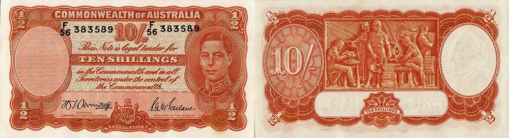 Ten shillings 1939 to 1954 - Banknote of Australia