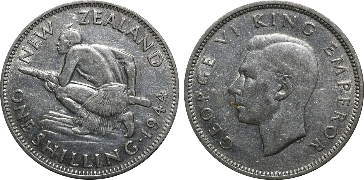 Shilling 1944 - New Zealand coin