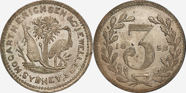 Hogarth, Erichsen & Co. - Jewellers - Threepence 1858